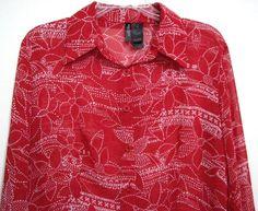 Bisou Bisou Red Semi Sheer Size 12 Long Sleeve Button Top Blouse Womans Shirt #BISOUBISOU #Blouse #Casual