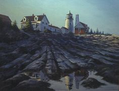Oil Painting of Pemaquid Lighthouse, Maine USA - Richard C. Moore
