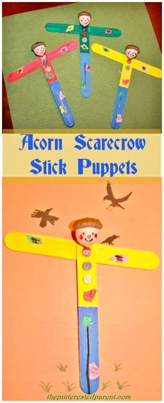 Acorn Scarecrow Stick Puppets