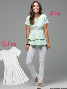 DIY REFASHION BY BURDASTYLE. Long shirt or shirt dress to blouse with flounce.