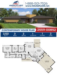 A stylish 1-story Contemporary home, Plan 2559-00852 outlines 2,122 sq. ft., 3 bedrooms, 2.5 bathrooms, a courtyard entry, a kitchen island, an open floor plan, and a mudroom. #contemporayhome #contemporarystyle #onestoryhome #architecture #houseplans #housedesign #homedesign #homedesigns #architecturalplans #newconstruction #floorplans #dreamhome #dreamhouseplans #abhouseplans #besthouseplans #newhome #newhouse #homesweethome #buildingahome #buildahome #residentialplans #residentialhome Best House Plans, Dream House Plans, Courtyard Entry, One Story Homes, Contemporary House Plans, Flat Roof, Open Floor, Innovation Design, New Construction