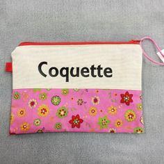 Trousse de sac à main personnalisable avec texte ou prénom en lin et coton.
