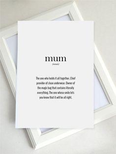gift for mum, mum definition, new mum gift, mothers day gift, new mother, first mother's day, printable, wall art, UK
