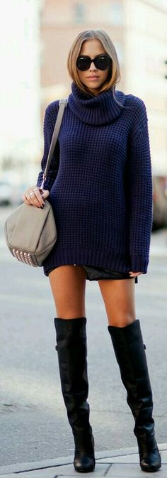 Oversized sweater and boots