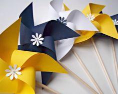 Paper Pinwheels in Nautical Colors. Wedding Decor. Navy Blue Yellow & White (set of 10)