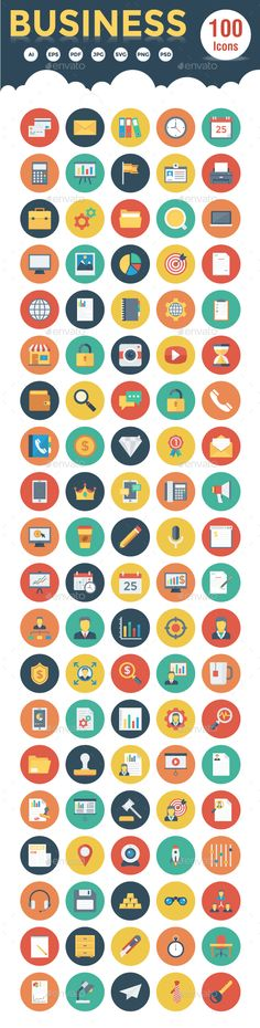 100 Business Flat Circle Icons — Photoshop PSD #calculator #file • Download ➝ https://graphicriver.net/item/20-business-flat-icons/19120480?ref=pxcr