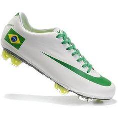http://www.asneakers4u.com Discount Mens Nike Mercurial Vapor SuperFly III Elite FG Safari Brazil National Soccer Team Cleats In White Green