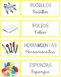 ESOS LOCOS BAJITOS DE INFANTIL: CARTELES DE MATERIALES Colegio Ideas, Teacher Organization, Printable Labels, Classroom Decor, Playing Cards, Clip Art, Education, Math, Games
