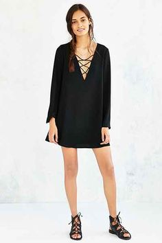 Ecote Deep-V Strappy-Front Frock Dress