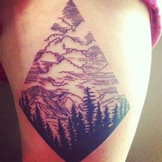 I really like this idea for a mountain tattoo