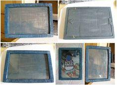 Cornice di cartone rivestita di cartapesta modellata, color blu avio con sfumature argento. Per foto 20x30. Materiale: carta di riciclo, cartone di riciclo, minuteria metallica, spago, plastica. Realizzata per un regalo