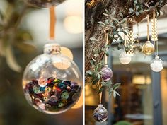 "Transparent glass baubles with removable tops. We brought ours from Amazon but try craft shops or Christmas shops. Just make sure you go for baubles with a seamless finish to best display your ""fillings"" Decorative items to fill your baubles; choose from glitter to sequins to artificial snow! Visit your local craft shop for inspiration. Ribbon, twine or yarn to hang your baubles."