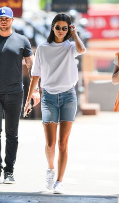 White t-shirt and denim shorts
