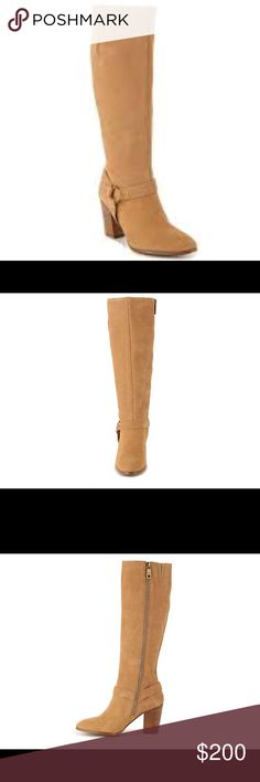 """Ralph Lauren Tan Suede Boots Chic style defines the Fareeda tall boot from Lauren Ralph Lauren. Pair this versatile knee high boot with anything in your wardrobe for an easy pulled together look.  FEATURES Suede upper Buckle strap accent 15"""" shaft height, inside zipper 14"""" calf circumference Almond toe Fabric lining 3½"""" stacked block heel Synthetic sole NWOB Ralph Lauren Shoes Ankle Boots & Booties"""