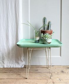 Wanderlust side table, lucite green cactus.  Pantone mood board on www.escapebuttonblog.com