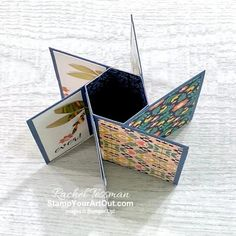 Click here to see a Six-Panel Pinwheel Tower card that shows off the Sweet Symmetry Designer Paper, In Symmetry Stamp Set, and Expressions in Ink Ephemera Pack as well as a Four-Panel Pinwheel Tower card that shows off the You're a Peach Designer Paper, Sweet As a Peach Stamp Set, Peach Dies, and Champagne Rhinestones. Access more photos, measurements, tips, and a supply list by clicking here. Stampin' Up!® - Stamp Your Art Out! www.stampyourartout.com #stampyourartout #stampinup Fancy Fold Cards, Folded Cards, Pinwheel Tutorial, Paper Tower, Online Paper, Craft Club, Card Patterns, Cool Cards, 3d Cards