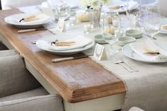 Thanksgiving table setting with easy centerpiece and DIY table runner