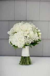 white rose hydrangea, baby's breath bouquet