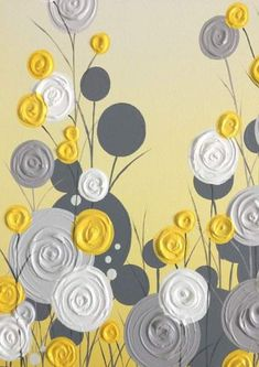 Yellow Gray and White Textured Flower Art by MurrayDesignShopYellow and Gray Textured Tree Art, Diptych Set of Two, Custom Painted, Modern Acrylic Painting Diy Canvas, Acrylic Painting Canvas, Diy Painting, Canvas Art, Acrylic Art, Canvas Size, Yellow Art, Yellow Painting, Diy Wall Art