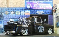55 Chev Pickup Ute 01 Harley FXSTS Softail Jack Daniels 1 24 Custom Jada Diecast | eBay