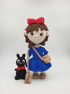 Crochet amigurumi pattern set inspired by the Studio Ghibli fan favourites, Kiki and her cat Jiji, from the Movie Kiki's Delivery Service Crochet Patterns Amigurumi, Crochet Hooks, Free Crochet, Half Double Crochet, Single Crochet, Pattern Art, Art Patterns, Cat Crafts, Yarn Needle