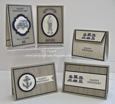 """So many choices with the """"Guy Greeting Stamp Set"""" Stampin' Up! Masculine Birthday Cards, Birthday Cards For Men, Masculine Cards, Male Birthday, Scrapbooking, Scrapbook Cards, Boy Cards, Men's Cards, Stampin Up Catalog"""