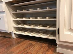 Built in Desk Converted to Wine Rack Hickory Kitchen Cabinets, Wine Cabinets, Built In Desk, Built In Storage, Wine Rack Cabinet, Wine Racks, Built In Wine Rack, Ikea, Kitchen Desks