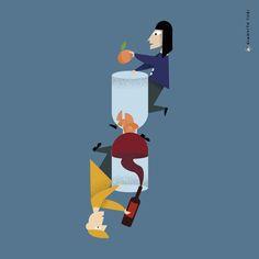 Illustrazione per Italian Tools di Francesco Fusillo / 20 regioni / 20 oggetti / 20 illustrazioni / MARCHE / bicchiere e decanter per vino e pesche #illustration #art #marche #regione #design #designer #Italy #drawings #peach #wine #graphicdesign