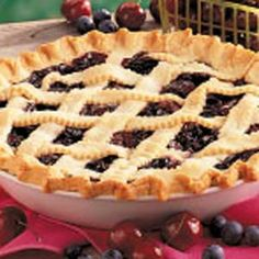 Cherry Blueberry Pie Recipe -Southwestern Michigan is noted for its fruit. I experimented and came up with this pie recipe that combines cherries and blueberries. It's especially good served warm with ice cream.