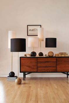 Stand table and floor lamps from Rejuvenation
