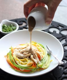 Zucchini Noodles with Chicken and Tangy Peanut Sauce ~ serve cold or warm, nice alternative to the heavier holiday foods