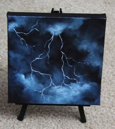 Mini Painting, Original Oil Painting - Landscape Lightning Canvas Wall Art - Painting Ideas On Canvas Easy Canvas Art, Small Canvas Art, Easy Canvas Painting, Mini Canvas Art, Canvas Wall Art, Painting Art, Painting Lessons, Drawing On Canvas, Canvas Painting Projects