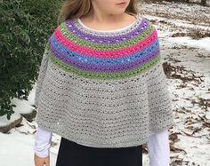 Crochet Poncho PATTERN Women girls Cowl Neck by LittleMonkeyShop