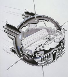 Concept of a 50's - style American built UFO. Looks like a smooth ride.