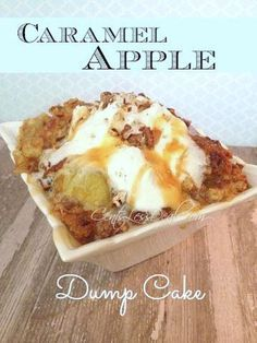 Caramel Apple Dump cake recipe with 4 ingredients! Made in the crockpot!! This literally took a minute to throw together, and it was a total hit with the family!! They thought I had slaved over this dessert. Definitely making this again, it's one of the best Pinterest recipes I've tried!