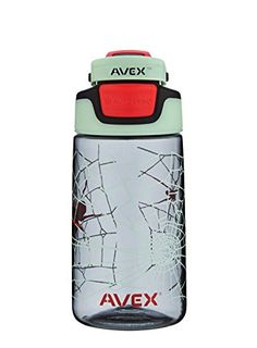 AVEX Kid's Auto Seal Freeride Water Bottle, Charcoal, 16-Ounce - One-handed, BPA-free plastic water bottle features a patented AUTOSEAL lid with press-to-drink button that automatically seals between sips to eliminate spills and leaks. This BPA-free water bottle also has a spout shield to protect against dirt and an ergonomic clip-on handle that attaches to ba...