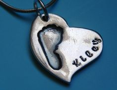 Baby Footprint Silver Personalized Heart Pendant by LilyBuds