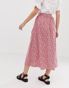 ee9df4a16c ASOS DESIGN Petite button front midi skirt with pockets in red floral print  | ASOS