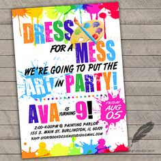 Paint Birthday Party Invitations kids by MagicalInvitations