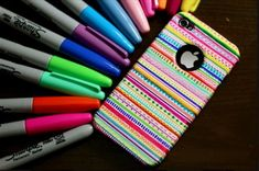 Told ya Sharpies are great! DIY: Tribal print iPhone case - made with sharpies and time Sharpie Projects, Sharpie Crafts, Craft Projects, Craft Ideas, Diy Ideas, Sharpie Designs, Project Ideas, Creative Ideas, Cool Ideas