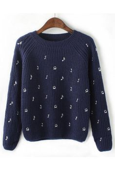 Musical Note Embroidery Loose Sweater