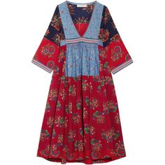 Ulla Johnson Milena embroidered patchwork cotton and linen-blend dress (5.815.255 IDR) ❤ liked on Polyvore featuring dresses, vestidos, red embroidered dress, floral print dress, boho dresses, boho embroidered dress and bohemian dresses