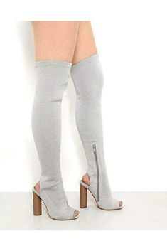 Womens Silver Shimmer Peep Toe Over-the-knee Boots Block High Heel UK 3 4 5 6 7 High Heels Uk, Over The Knee Boots, Online Price, Peeps, Peep Toe, Women, Fashion, Moda, Fashion Styles