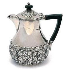 Late Victorian sterling silver hot chocolate, London having foliate capped body, fitted to one side an angular ebonised handle and knop. Chocolate Pots, Chocolate Coffee, Pot Sets, Teas, Antique Silver, 19th Century, Tea Pots, Porcelain, Victorian