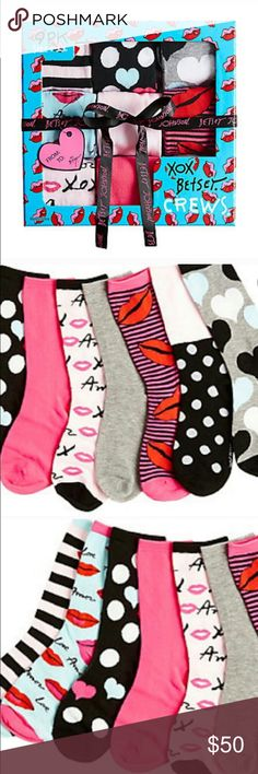 Adorable nine pack of Betsey Johnson socks. New These adorable Betsey Johnson socks would make a great gift. they are in a nice box. There are nine different pairs. value 65.00. Betsey Johnson Accessories Hosiery & Socks