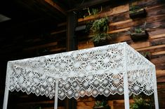 this is another chuppah idea. You just need to build the frame and get a large piece of lace. I bet you could just use a staple gun to attach. Super easy