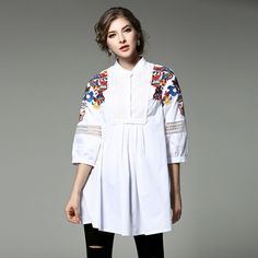 Brand New Fashion Women Blouse High Quality 2017 Spring Summer Flower Embroidery Hollow Out Blouses and Shirts Work Casual Tops
