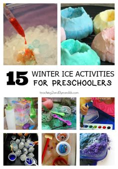 15 winter ice activities for preschoolers that are fun at home or at school, with science, art and sensory ideas.