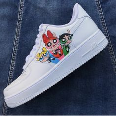 Powerpuff Girls by nikoswoosh Kid Shoes, Girls Shoes, Me Too Shoes, Colorful Nike Shoes, Nike Shoes Air Force, Aesthetic Shoes, Cute Sneakers, Hype Shoes, Fresh Shoes