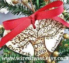 Wedding ornament, personalized ornaments, wedding gift, winter wedding, rustic wedding, custom ornament set, vintage ornaments
